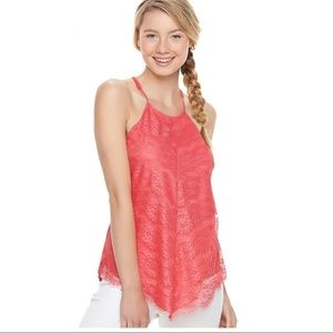 Juniors coral lace overlay tank L